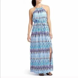 Athleta Sunset Maxi Dress Blue Pattern Print XS